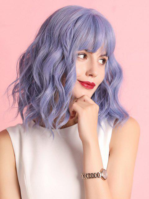 See-through Bang Medium Wavy Synthetic Cosplay Wig - PURPLE