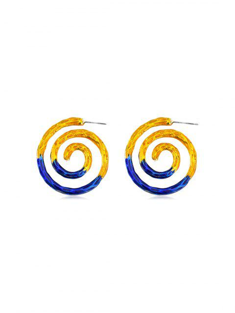 Alloy Two Tone Spiral Earrings - COBALT BLUE