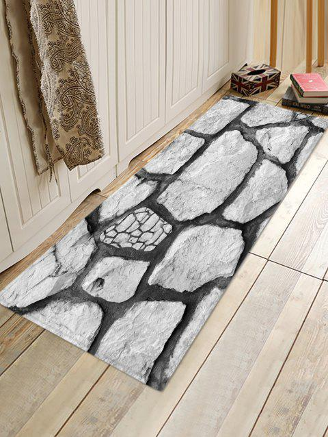 Rock Stone 3D Printed Floor Rug - COOL WHITE W16 X L47 INCH
