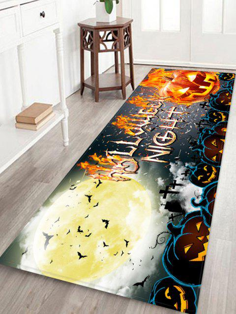 Halloween Pumpkin Letter Bat Floor Rug - ORANGE GOLD W24 X L71 INCH