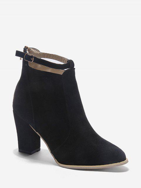 Buckle Strap Accent Suede Ankle Boots - BLACK EU 39
