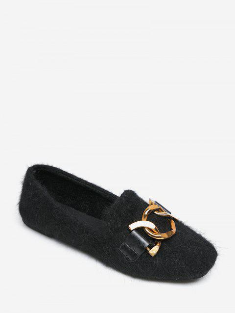 Metal Accent Slip On Fuzzy Flats - BLACK EU 43
