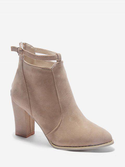 Buckle Strap Accent Suede Ankle Boots - BEIGE EU 35