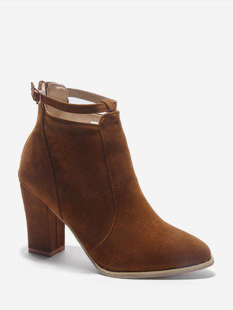 Buckle Strap Accent Suede Ankle Boots - DEEP BROWN EU 35