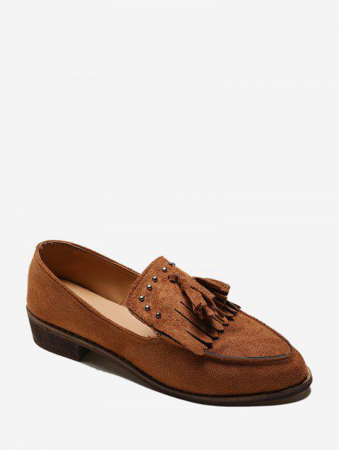 Pointed Toe Fringe Accent Slip On Shoes - BROWN EU 43