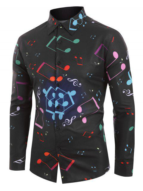 Musical Note Printed Long Sleeves Shirt - BLACK L