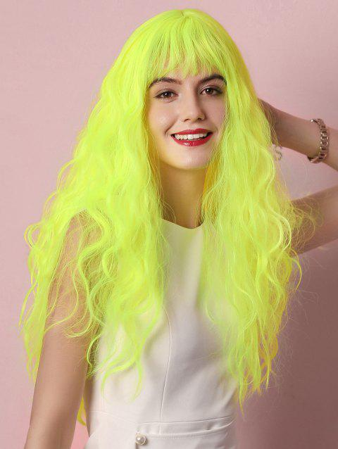 Cosplay Halloween Fluorescent Long Curly See-through Synthetic Wig - CHARTREUSE