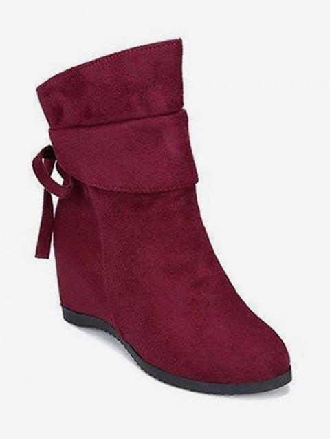 Increased Internal Back Bow Suede Ankle Boots - RED WINE EU 37