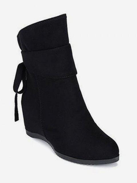 Increased Internal Back Bow Suede Ankle Boots - BLACK EU 37