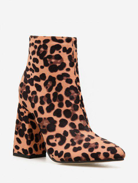 Leopard Print Chunky Heel Ankle Boots - LEOPARD EU 40