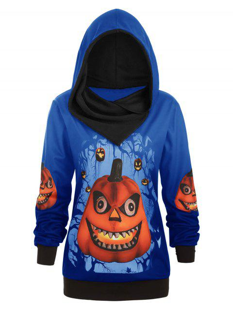 Plus Size 3D Pumpkin Print Convertible Halloween Hoodie - BLUEBERRY BLUE L