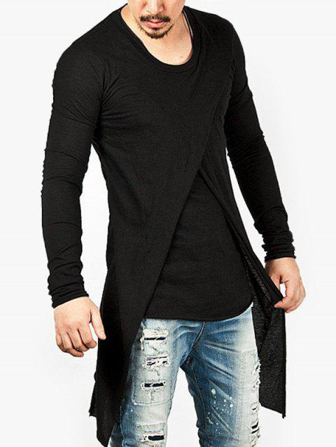 Punk Style Solid Color Long-sleeved T-shirt - BLACK L