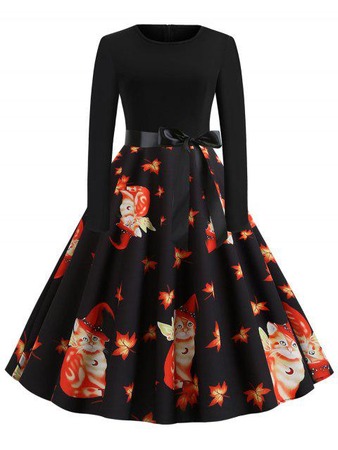 Maple Leaves Cat Belted Flared Halloween Dress - BLACK M