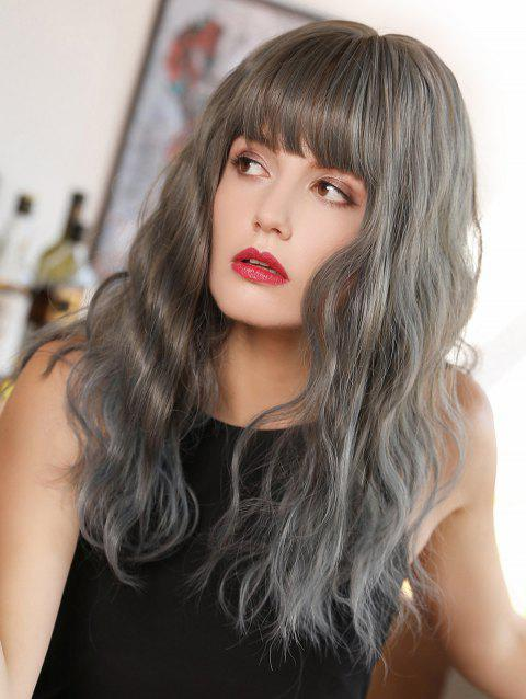 Neat Bang Gradient Long Wave Synthetic Wig - multicolor