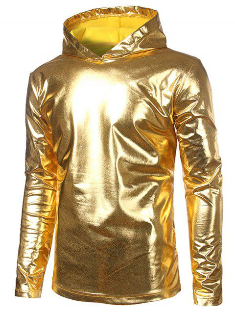 Metallic Hooded Long Sleeve T Shirt - GOLDEN BROWN XL