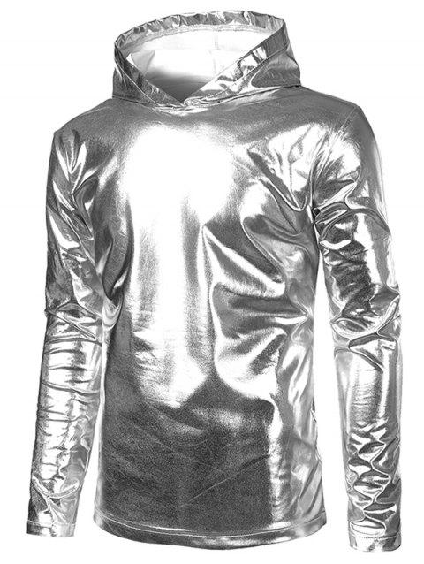 Metallic Hooded Long Sleeve T Shirt - SILVER XL
