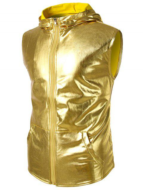 Patent Leather Zip Up Hooded Tank Top - YELLOW L