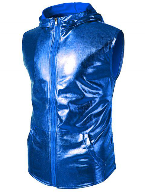 Patent Leather Zip Up Hooded Tank Top - BLUE 2XL