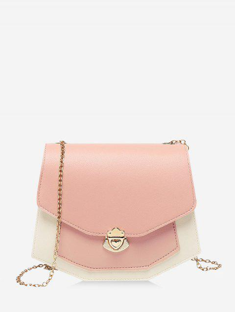Color Block Chain Strap Crossbody Bag - PINK