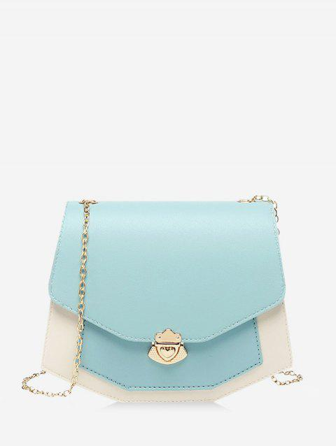 Color Block Chain Strap Crossbody Bag - CORAL BLUE