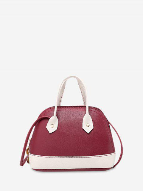 Shell Shape Striped Crossbody Bag - RED WINE