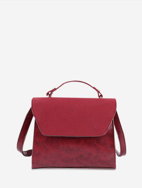 Vintage Style Solid Color Crossbody Bag - RED WINE