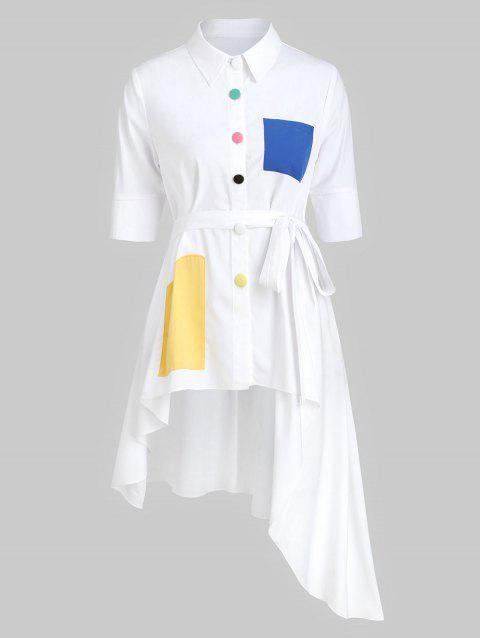 Button Up Asymmetric Belted Pocket Shirt - WHITE 3XL