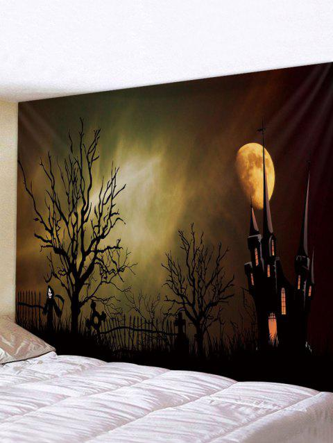 Halloween Night Castle tapisserie imprimée Tenture murale Art Décoration - multicolor W79 X L59 INCH