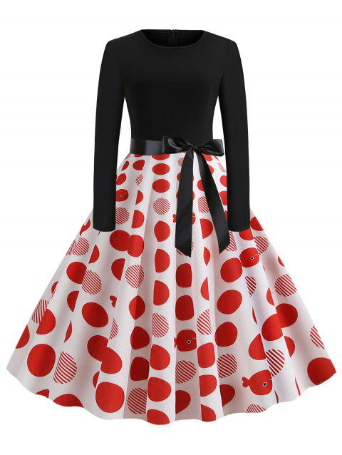 Polka Dot Striped Belted Long Sleeves Dress - RED 2XL