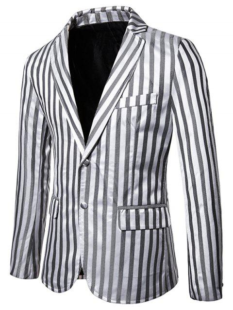 Vertical Striped Single Breasted Notch Lapel Blazer - LIGHT GRAY 2XL