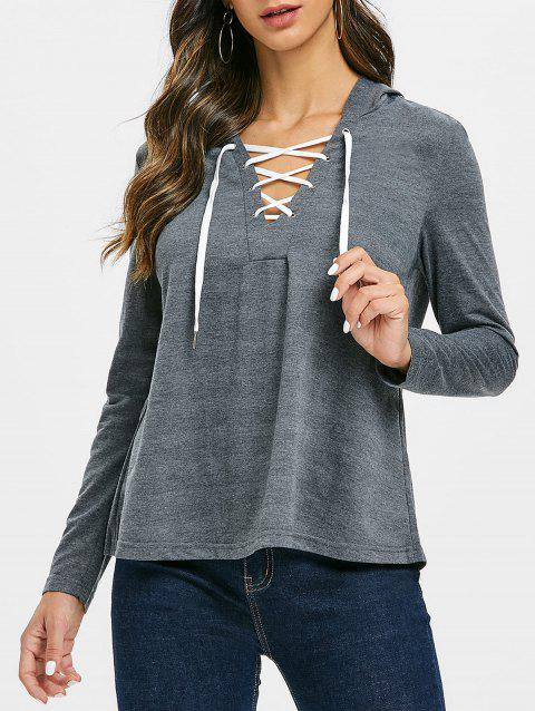 Lace Up Solid Casual Hoodie - GRAY 3XL