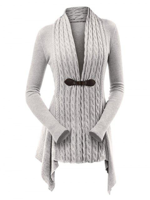 Cable Knit Ribbed Buckle Front Skirted Plus Size Cardigan - LIGHT GRAY 1X