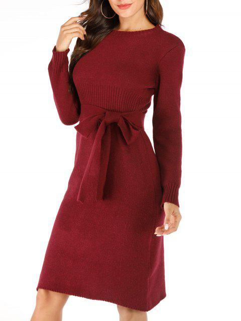 Belted Sheath Jumper Dress - RED WINE ONE SIZE