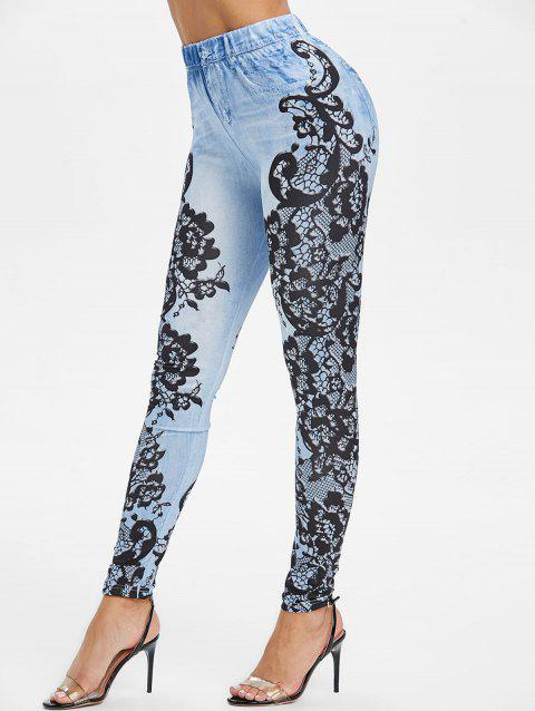 High Rise 3D Lace Print Skinny Jeggings - OCEAN BLUE M