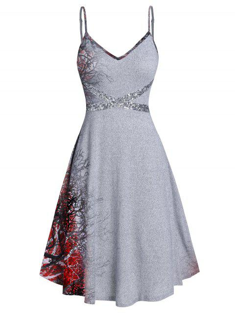 Cami Printed Sequined Mini Dress - RED WINE XL