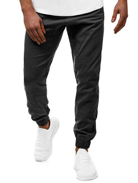 Contrast Drawstring Pockets Casual Jogger Pants - BLACK L