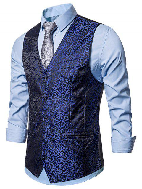 Gilet de Business à Simple Boutonnage en Jacquard - Bleu Cadette 2XL