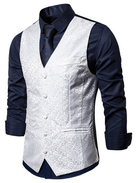 Baroque Jacquard Single Breasted Business Vest - WHITE L