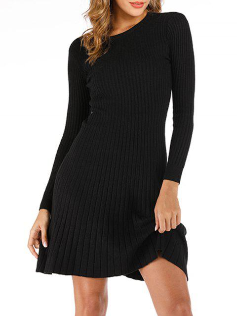 Ribbed A Line Sweater Dress - BLACK ONE SIZE
