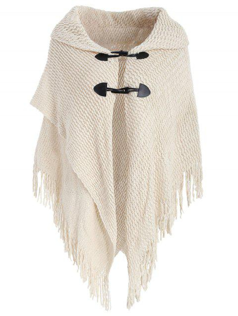 Horn Button Fringes Poncho Plus Size Cardigan - WARM WHITE ONE SIZE