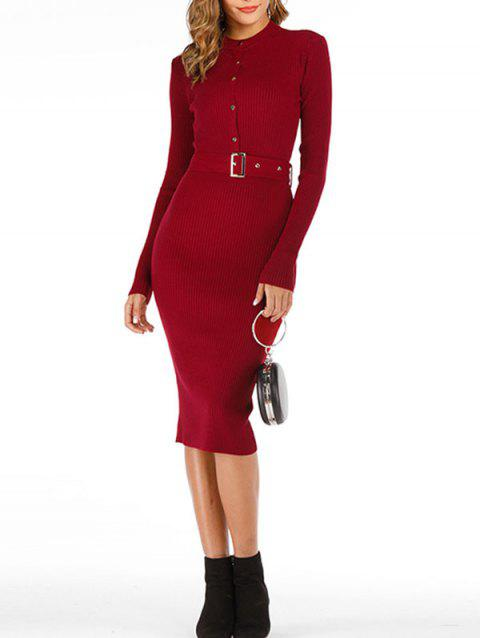 Snap-button Ribbed Bodycon Jumper Dress - RED ONE SIZE