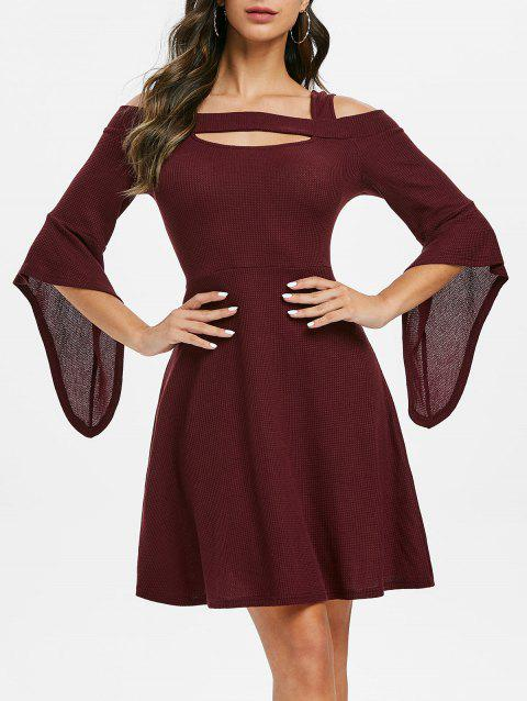 A Line Cold Shoulder Cut Out Solid Dress - RED WINE L