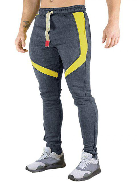 Color Block Splicing Zip Hem Drawstring Long Sport Pants - DARK GRAY XS