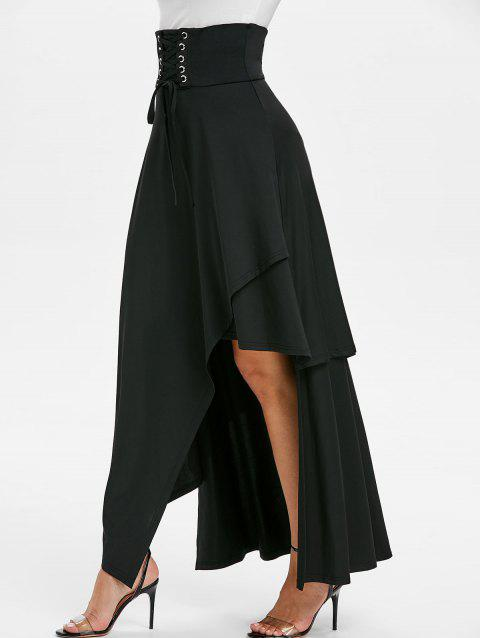 High Waisted Lace-up Asymmetric Layered Maxi Skirt