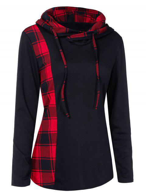 Plaid Panel Drawstring Pullover Hoodie - BLACK XL