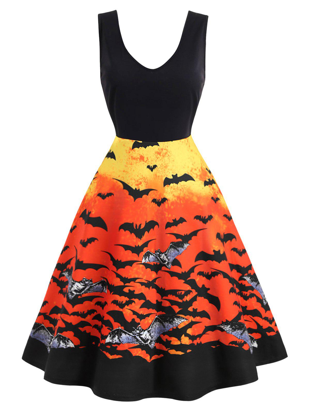 Plus Size Vintage Bat Print Halloween Swing Dress - BLACK 1X