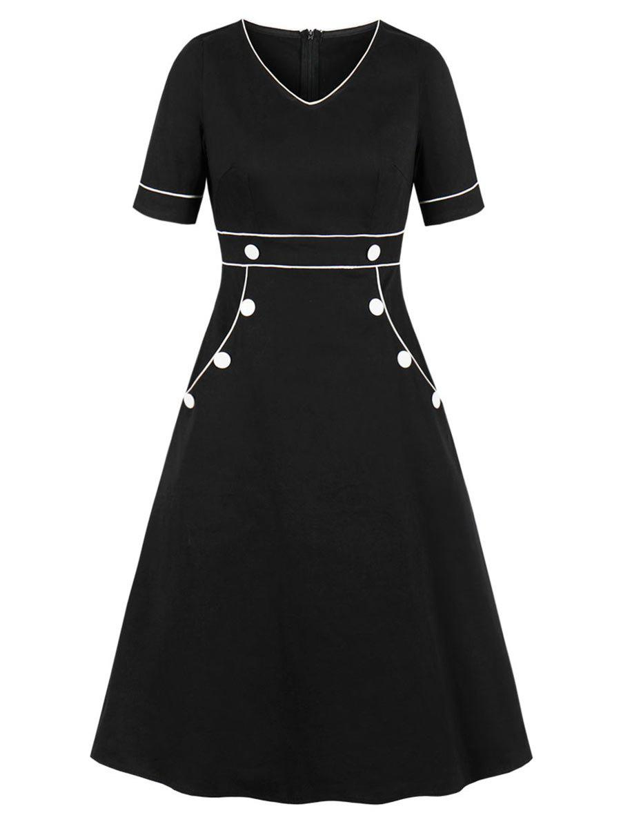 Piping Button A Line Dress - BLACK 2XL