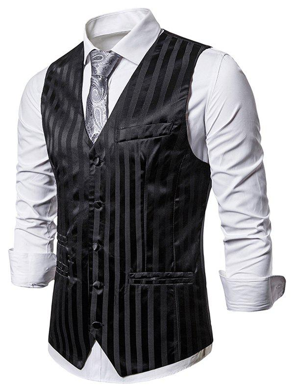Vertical Striped Single Breasted Business Vest - BLACK 2XL