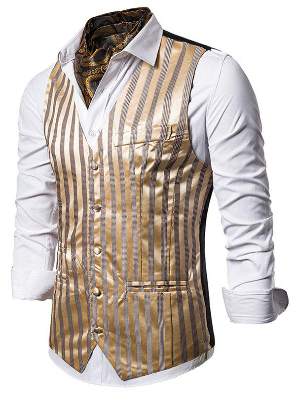Vertical Striped Single Breasted Business Vest - GOLD XL