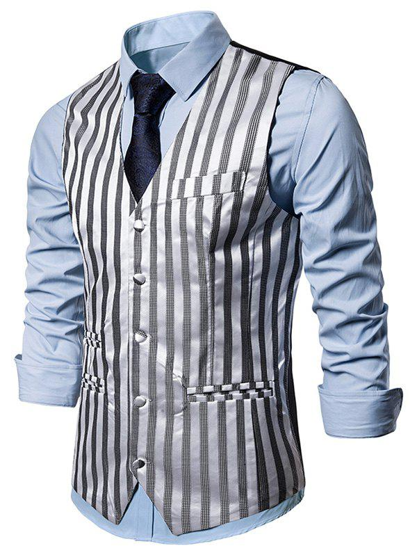 Vertical Striped Single Breasted Business Vest - LIGHT GRAY L